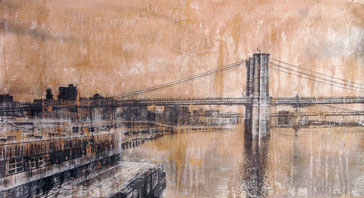 AVAILABLE - Brooklyn Bridge 1 - 113x62cm - Mixed media, collage and acrylic paint on paper on canvas
