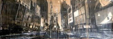 SOLD - Time Square 1 - 143x50cm - Mixed media, collage and acrylic paint on paper on canvas