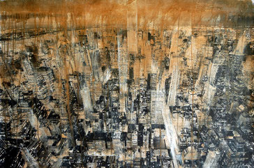 SOLD - NY3 - 115x74cm - Mixed media, collage and acrylic paint on paper on canvas