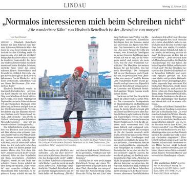 """Elisabeth Rettelbach, Autorin aus dem Kirschbuch Verlag, mit ihrem Roman """"Die wunderbare Kälte"""" in der Schwäbischen Zeitung"""