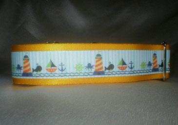 Halsband, Hund, Martingale 4cm breit, Gurtband sonnengelb, Borte See- und Strandmotive