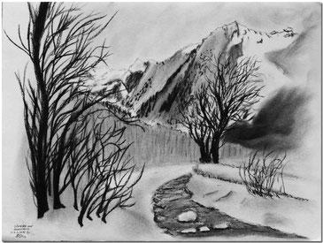 Kohlezeichnung von der Silvretta und dem Canardhorn von Klosters aus.