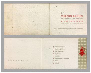 Die Original Visitenkarte von Hans Werndl sen. & Sohn
