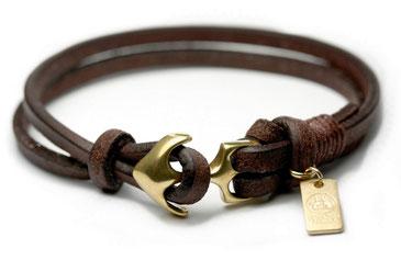 Ankerarmband in Gold mit Leder in Braun