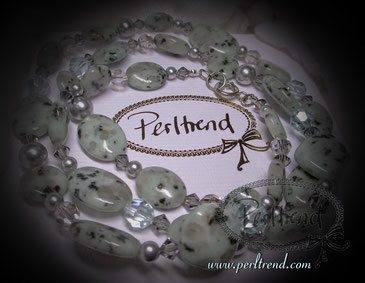 www.perltrend.com Halsschmuck türkis grün grau Kiwi Stones Edelsteine Silber
