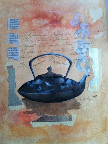 Aquarelle des thés - encadrée - 25X36