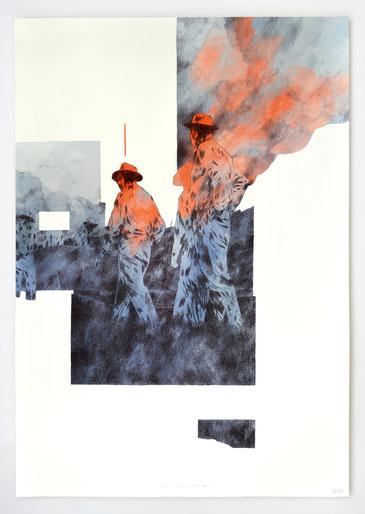 """""""PIONNIERS VII"""" _ Aqurarelle, acrylique & encre _ 100x70cm"""