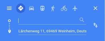 Link zum Google Routenplaner Praxis Dr. Monika Reinhardt, Lärchenweg 11, 69469 Weinheim
