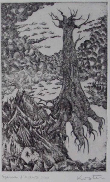l'arbre creux- eau-forte-10x20