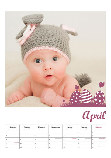 Fotokalender Neugeborenenshooting Babyfotos April