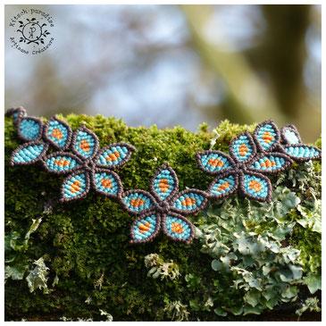 kp kitsch-paradise artisans créateurs création tissage macramé micromacramé couleur nature art fleur en fleur bleu