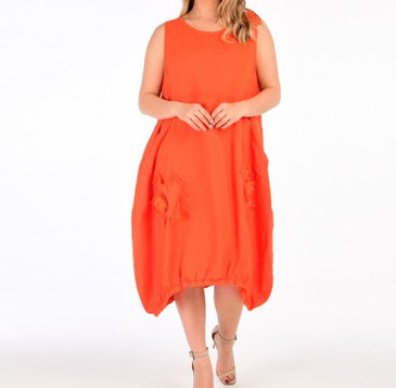 Ballon-Kleid orange mit Blüten Applikationen
