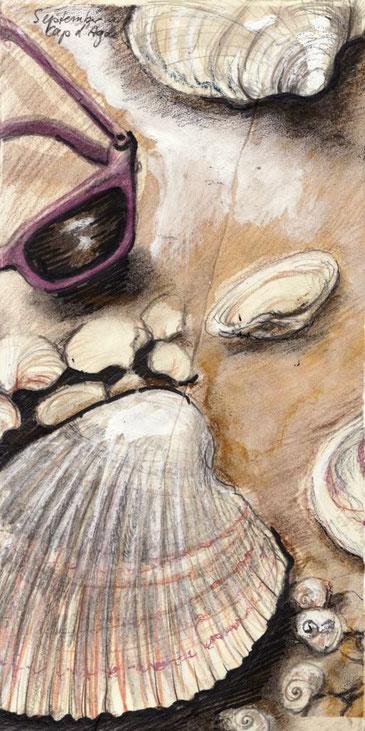 Muscheln, Sand, Sonnenbrille