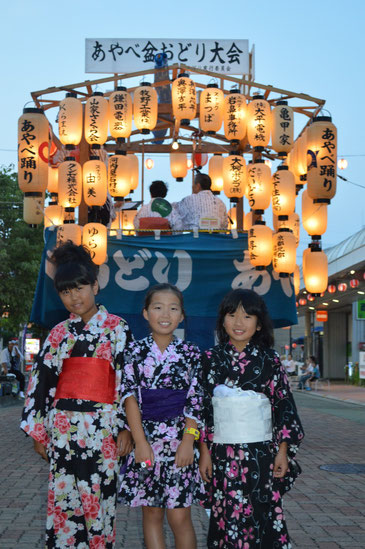 盆踊りにきていた市内小学校の3年生。浴衣姿が可愛らしい(*^^*)