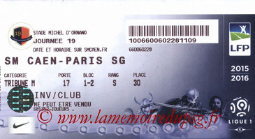 Ticket  Caen-PSG  2015-16