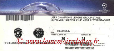 Ticket  Ludogorets-PSG  2016-17