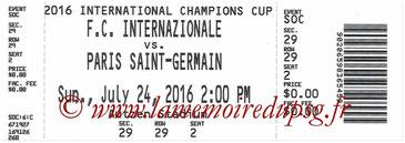 Ticket  PSG-Inter Milan  2016-17