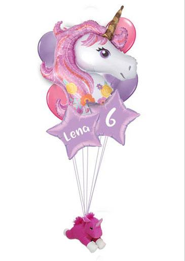 Folienballon süß Luftballon Ballon Bouquet Geburtstag Einhorn Unicorn Plüsch Plüschtier personalisiert Kindergeburtstag Glitzer rosa lila bunt Geschenk mit Namen individuell beschriftet Stern Stofftier