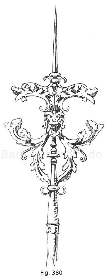 Fig. 380. Reichverzierter Luntenspieß eines Büchsenmeisters aus Eisen und Messing. Zweite Hälfte 16. Jahrhundert. Waffensammlung im Stift Klosterneuburg.