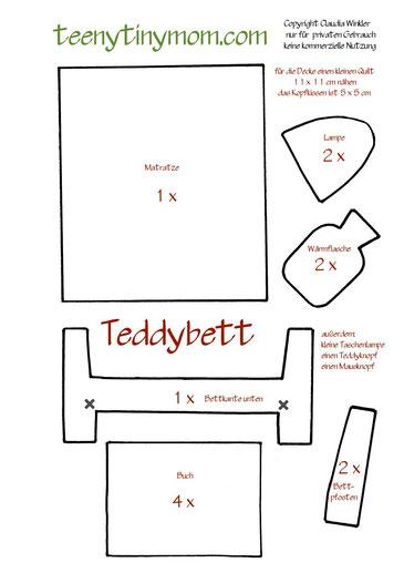 Schablone für das Teddy Schlafzimmer im Quiet book
