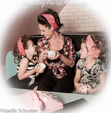 Relooking pin-up pour maman et enfants, shooting photo