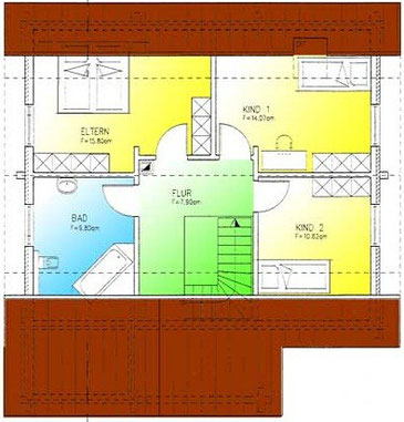 Blockhaus Brandenburg: Wohnfläche DG 58,39 m² - © Blockhaus-Profi