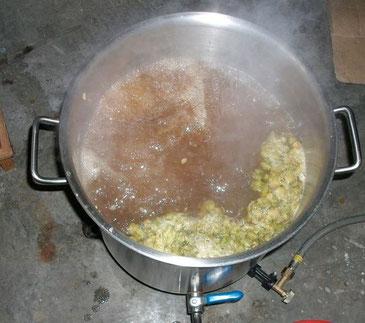 ebullition , stérilisation du moût, houblonnage de la bière dela mousse du guiers