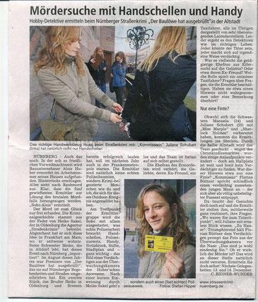 """Zeitungsartikel im Sonntagsblitz vom 09.12.2008: """"Mördersuche mit Handschellen und Handy""""- Quelle: Sonntagsblitz"""