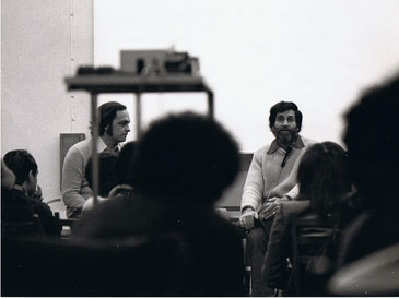 Gianni Pettena with Allan Kaprow, University of Florence, 1975