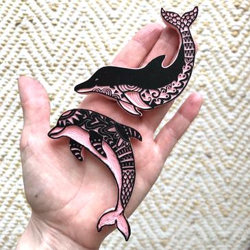 Handgesneden stempels dolfijnen blokprint lino ibiza