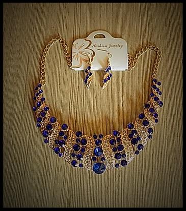parure collier boucles oreilles strass bleu royal, argent, bijoux fantaisie pas  cher - atelierchantalcreations21.fr a10268d08f9f
