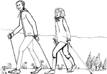 Eine Zeichnung von einem Mann und einer Frau die hintereinander Nordic Walking machen
