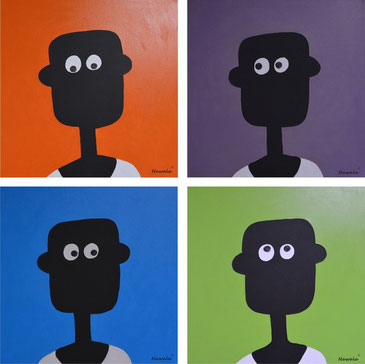 my first passport photos,     40x40 cm (each) acrylic on canvas