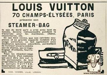 Publicité 1925 - Louis Vuitton Le sac Steamer bag