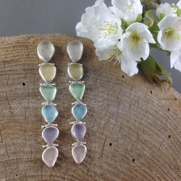 Elegant long shoulder-duster earrings hinged for gorgeous movement with rare pastel sea glass.