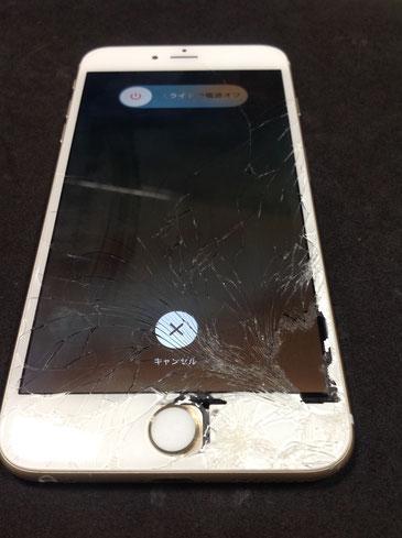 ガラスの割れたiPhone6