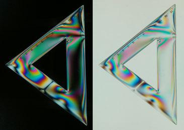 Matériau biréfringent, polariseur analyseur parallèle ou croisé