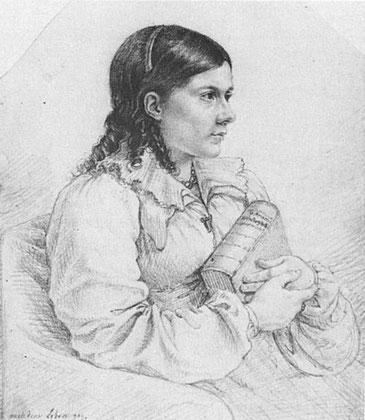 Bettine Brentano, Kupferstich von Ludwig Emil Grimm, Museum Schloss Philippsruhe, Hanau