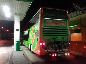 mit dem Fernbus wieder nach Hause