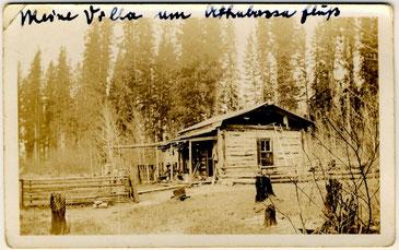 """Georg Naumanns """"Villa am Athabsca Fluß"""".  Hier wurde er auf die stetigen Austritte von """"Naturgas"""" aufnerksam."""