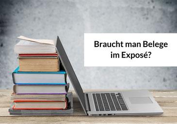 Laptop mit Büchern. Text: Braucht man Belege im Exposé?