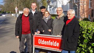 Neu-Einweihung des Ortsschild an der Oldenfelder Straße