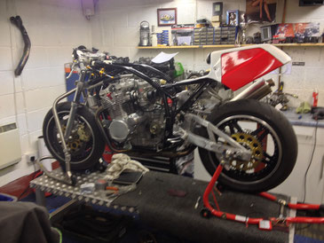 A classic Suzuki XR69 being restored to its former glory.