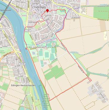Karte mit roter Markierung zur naturkundlichen Exkursion in Ladenburg