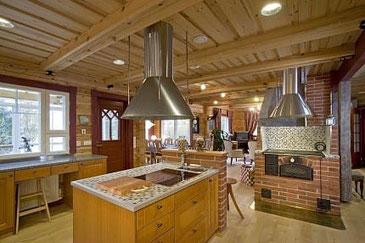 Exklusives Blockhaus als Wohnhaus - Wohnküche mit Kochinsel