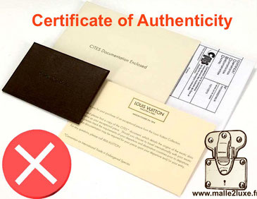 Certificate of authenticity trunk louis vuitton