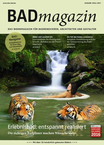 Zwei Magazine zum Preis von einem: Mit der BAUIDEE Ausgabe 02_2017 sichern Sie sich das kostenlose BADmagazin der SHK. Foto: SHK
