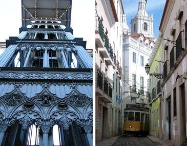 Doppelbild: links alter schmiedeeiserner Fahrstuhl und rechts enge Gasse mit gelber Trambahn