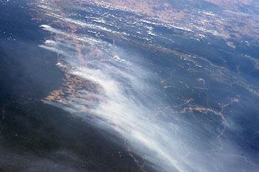 2014年に発生したアマゾンの森林火災 from International Space Station