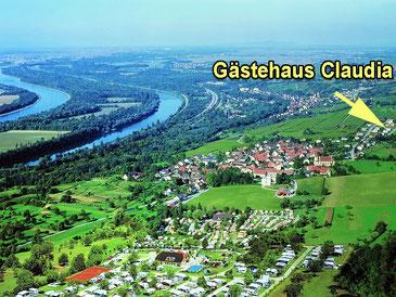 Luftbild von Bamlach, Campingplatz Luginsland und Ferienhaus Claudia